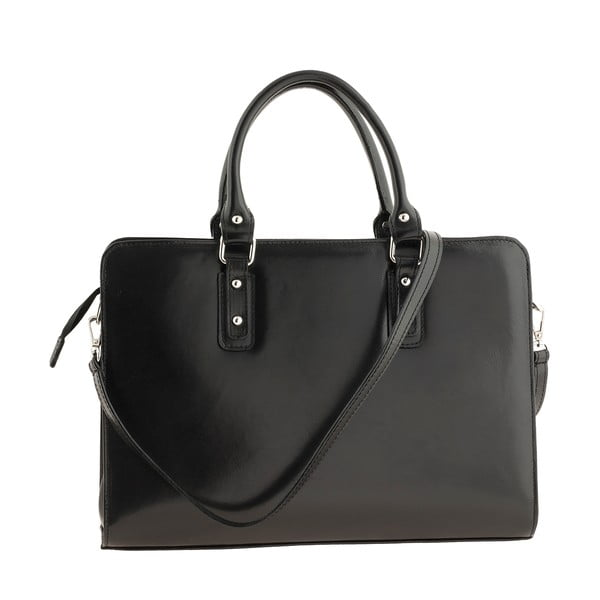 Čierna kožená kabelka Ore Diece Taranto
