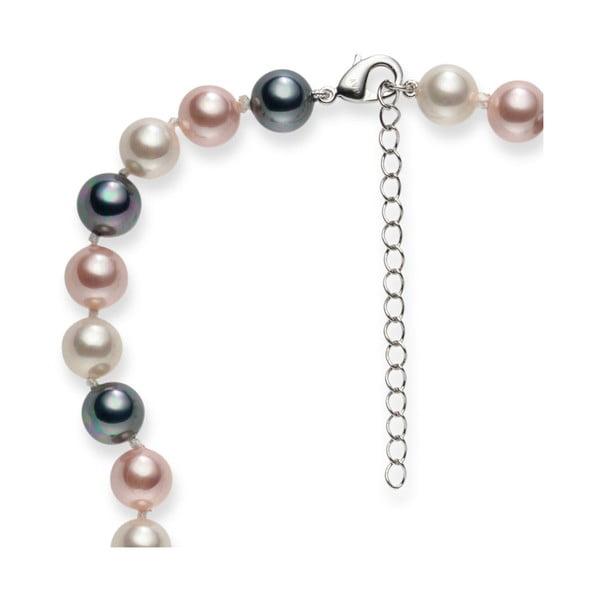 Perlový náhrdelník Mystic Grey White Rose, 42 cm