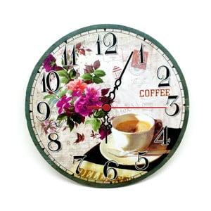 Nástenné hodiny Coffee Flower, 30 cm