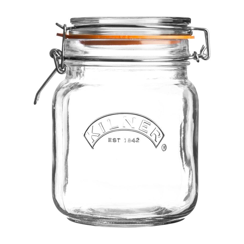Hranatý pohár na závaranie s klipom Kilner, 1 l