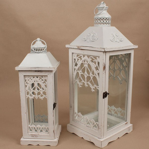 Sada 2 drevených lampášov Dakls Vintage White