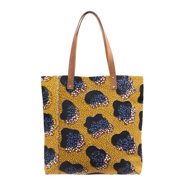Horčicová kožená vintage maxi taška O My Bag Lou's Print