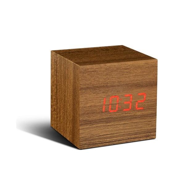Hnedý budík s červeným LED displejom Gingko Cube Click Clock