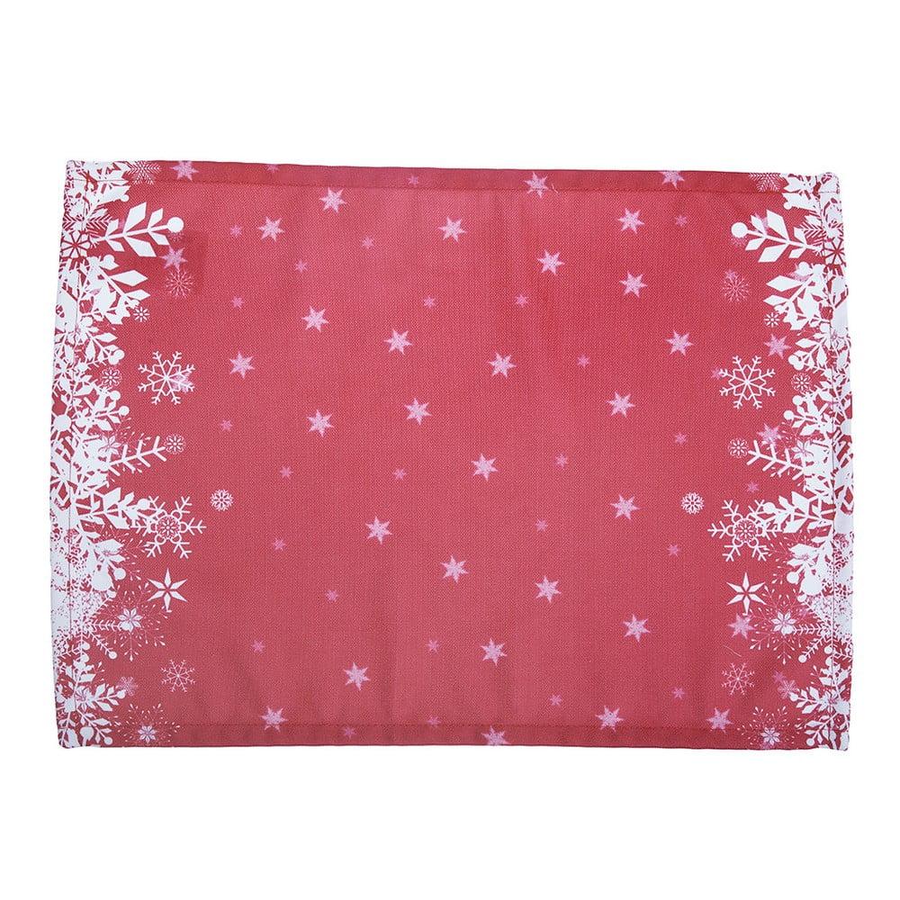 Sada 2 červených prestieraní s vianočným motívom Apolena Honey Snowflakes, 33 × 45 cm