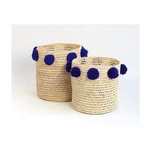 Sada 2 úložných košíkov s tmavomodrými dekoráciami Madre Selva Milo Basket