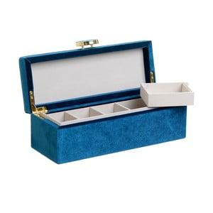 Modrá šperkovnica so zamatovým povrchom InArt