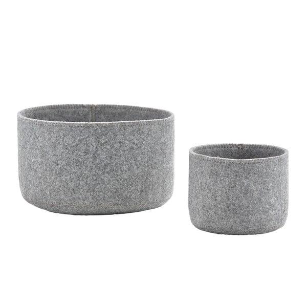 Sada 2 plstených košíkov Zone Grey