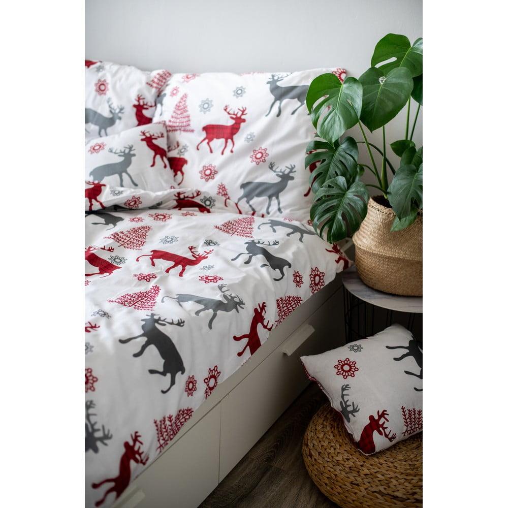 Vianočné bavlnené obliečky Cotton House Deer, 140 x 200 cm
