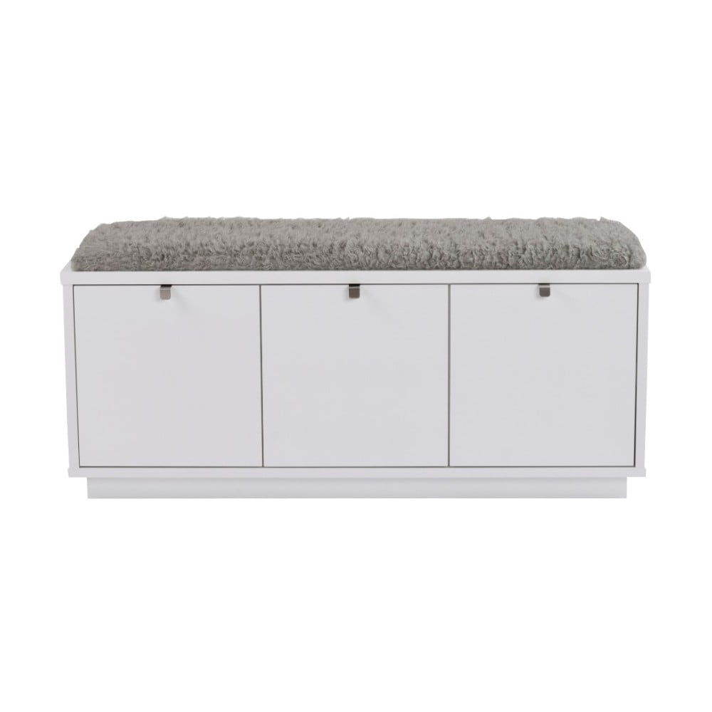 Biela lavica s úložným priestorom a so sivým sedadlom Rowico Confetti, šírka 106 cm
