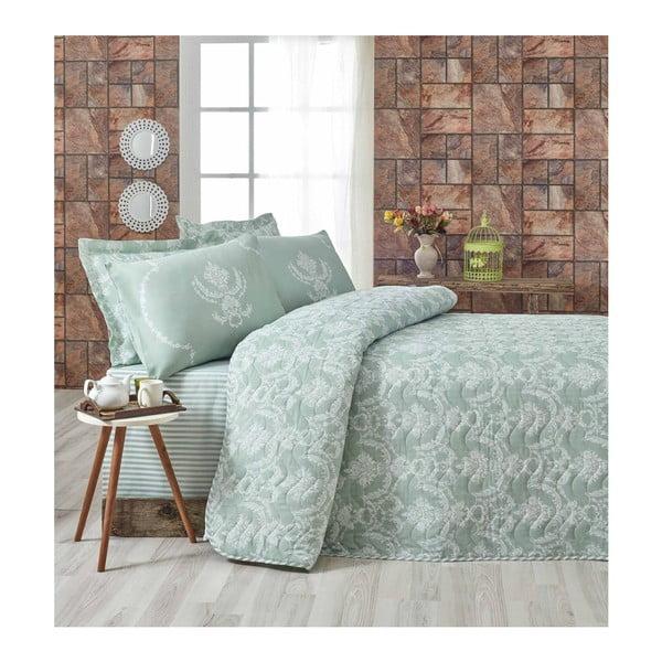 Svetlozelený pléd cez posteľ na dvojlôžko s obliečkami na vankúše Pure, 200×220cm