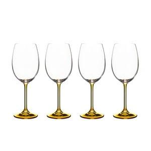 Sada 4 pohárov na víno zo okrového krištáľového skla Bitz Fluidum, 450 ml