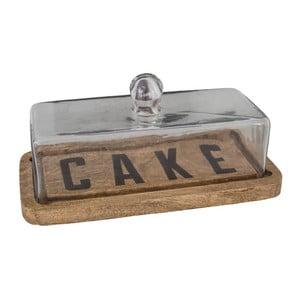 Drevený podnos na tortu so skleneným poklopom Antic Line Cake