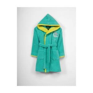 Detský zeleno-žltý bavlnený župan s kapucňou, 9-12 let