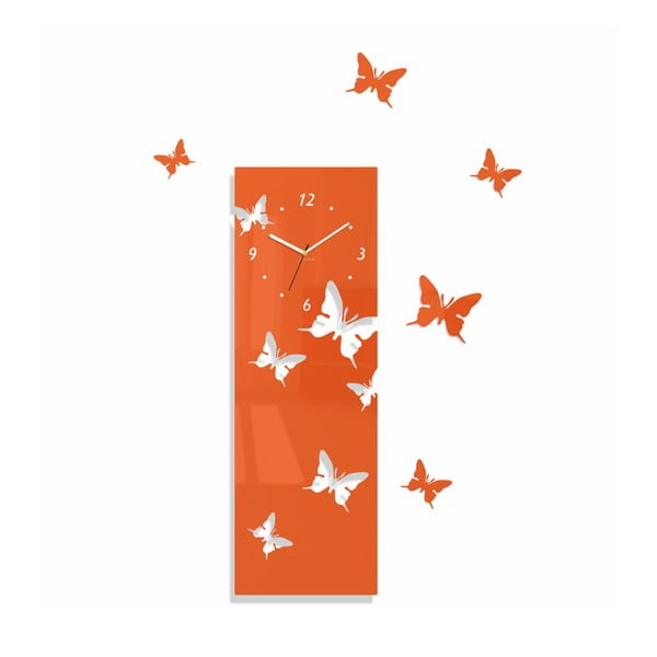 Hodiny z plexiskla Butterflies Away Orange
