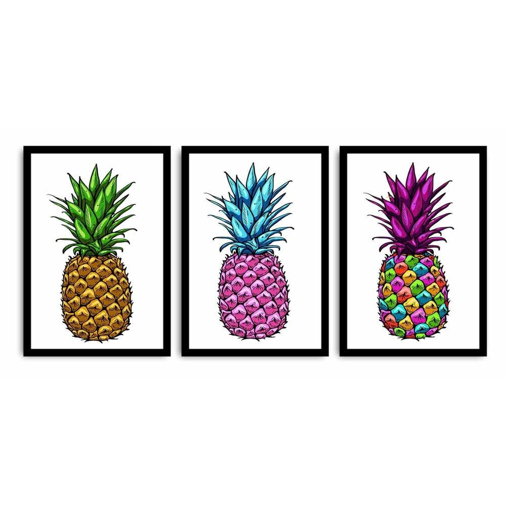 Trojdielny obraz Pineapple, 109 × 50 cm