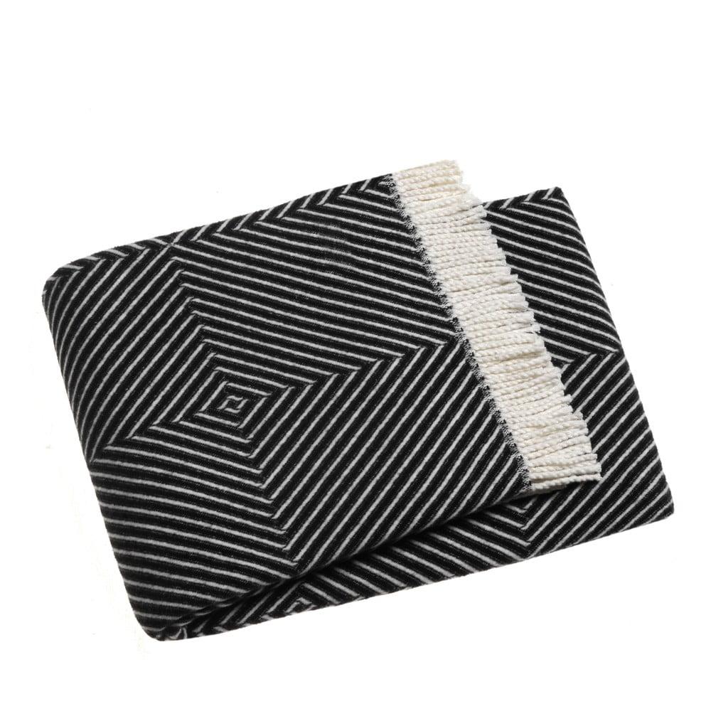 Čierny pléd s podielom bavlny Euromant Tebas, 140 × 180 cm