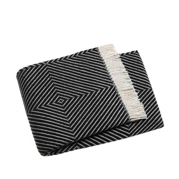 Čierny pléd s podielom bavlny Euromant Tebas, 140×180 cm