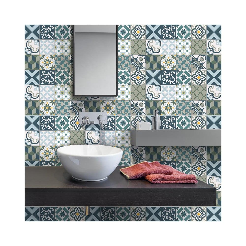 Sada 30 nástenných samolepiek Ambiance Wall Stickers Cement Tiles Azulejos Vicenzo, 10 × 10 cm