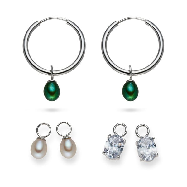 Náušnice Yamato Pearls s vymeniteľnými príveskami Silver Green