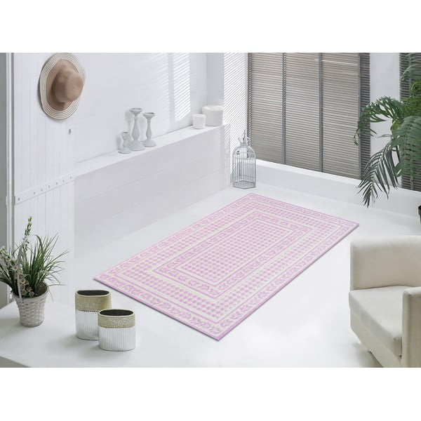 Staroružový odolný koberec Vitaus Olivia, 80x200cm