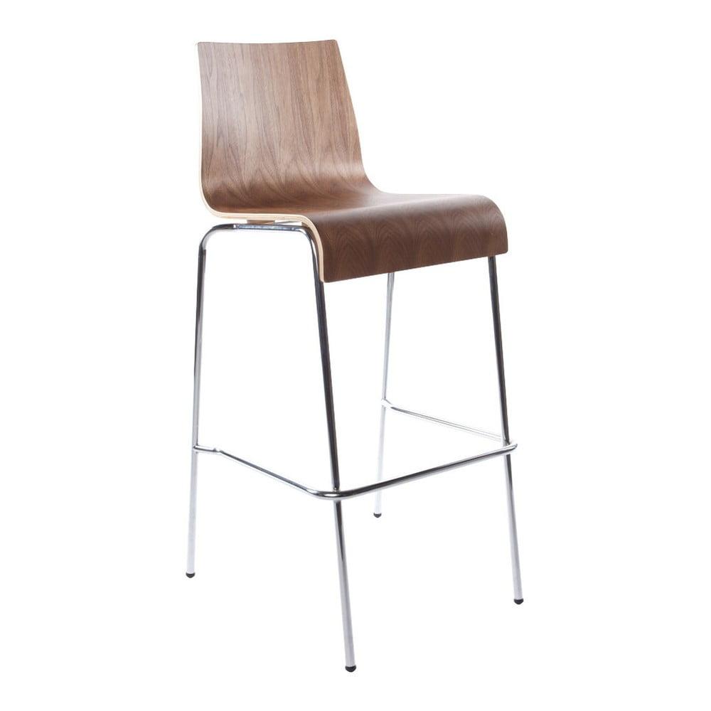 Barová stolička so sdadlom v dekóre orechového dreva Kokoon Cobe, výška 74 cm