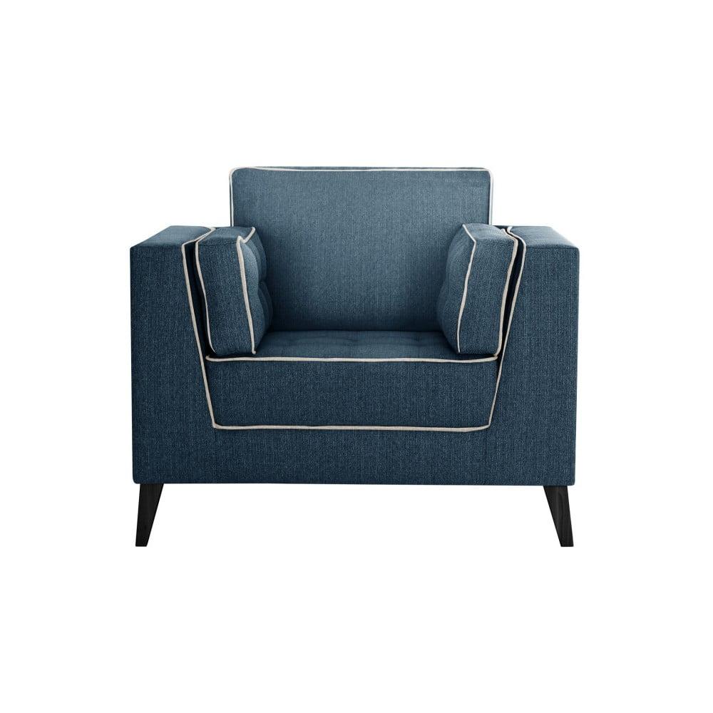 Tmavomodré kreslo s detailmi v krémovej farbe Stella Cadente Maison Atalaia Blue Jeans
