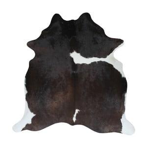 Čierno-hnedý koberec z hovädzej kože, 195 x 175 cm