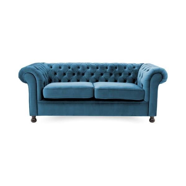 Modrá trojmiestna pohovka Vivonita Chesterfield