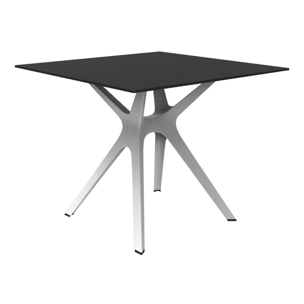 Jedálenský stôl s bielymi nohami a čiernou doskou vhodný do exteriéru Resol Vela, 90 × 90 cm