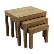Sada 3 stolíkov z dubového dreva Fornestas Sims