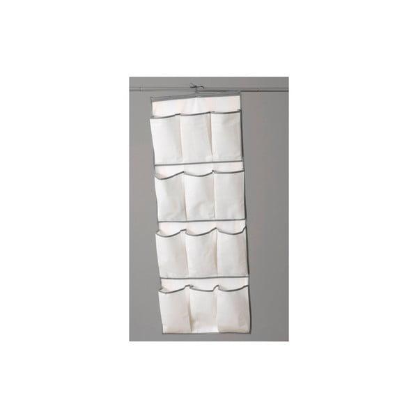 Sivá textilná skriňa so závesným organizérom Compactor