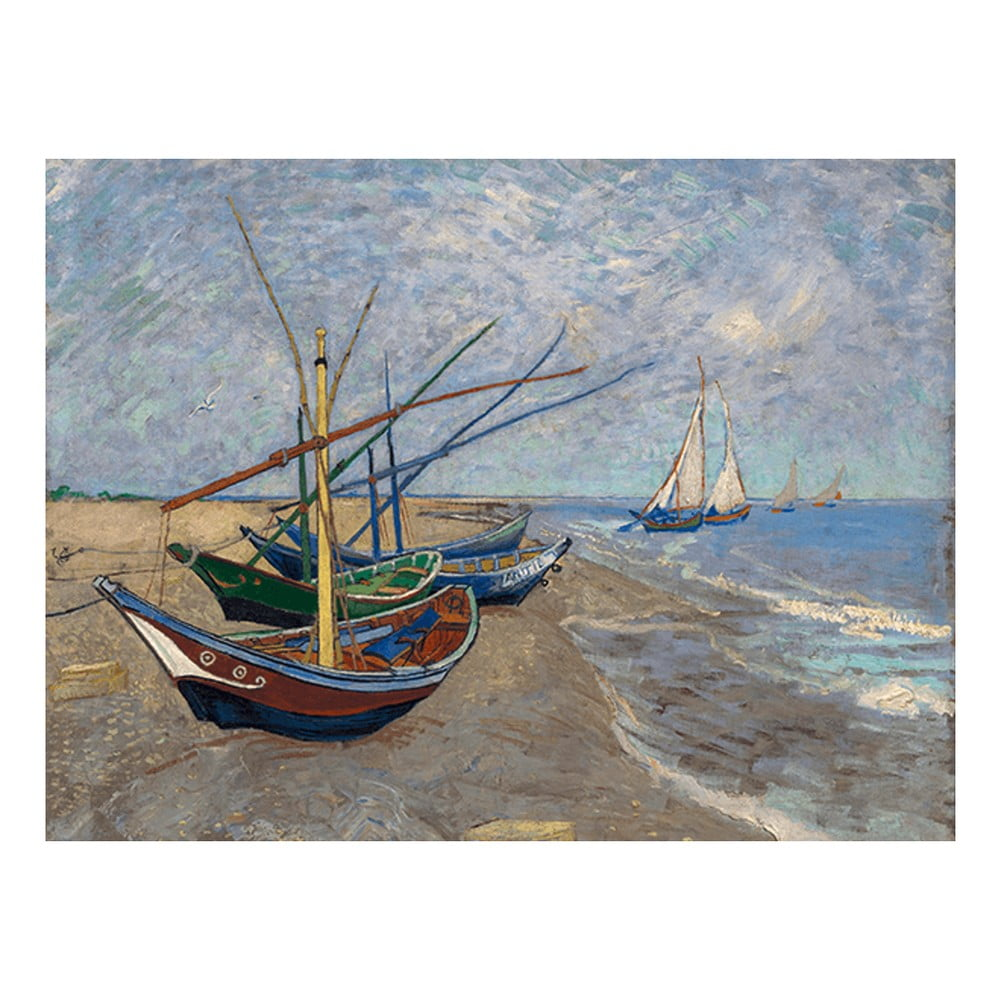 Reprodukcia obrazu Vincenta van Gogha - Fishing Boats on the Beach at Les Saintes-Maries-de la Mer, 40x30 cm