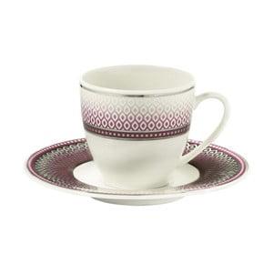 Sada 6 porcelánových šálok s tanierikom Kutahya Latté, 80 ml
