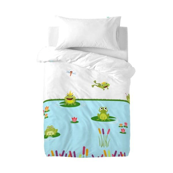 Detské bavlnené obliečky na paplón a vankúš Mr. Fox Happy Frogs, 100 x 120 cm