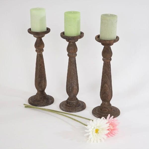 Set 3 hnedých svietnikov Shabby Brown, 35 cm