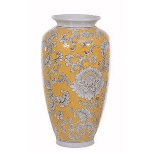 Žltá keramická váza s dekorom Dino Bianchi, výška 37 cm