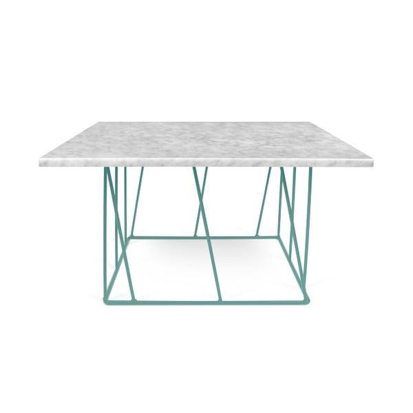 Biely mramorový konferenčný stolík so zelenými nohami TemaHome Helix, 75cm