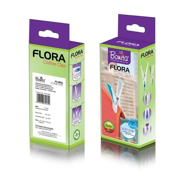 Set sušiaku a štipcov na prádlo Bonita Flora Blue, 24ks