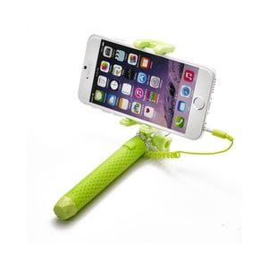 Zelená selfie tyč CELLY Mini selfie, spúšť cez 3.5mm jack