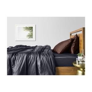 Sivo-hnedé bavlnené obliečky na dvojlôžko so sivou plachtou COSAS Muno, 200×220cm