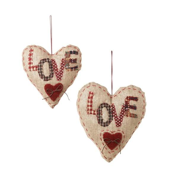 Sada 2 závesných dekorácií Love Hearts