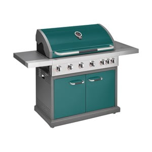 Zelený plynový gril so 6 samostatne ovládateľnými horákmi, teplomerom a bočným ohrievačom Jamie Oliver Pro