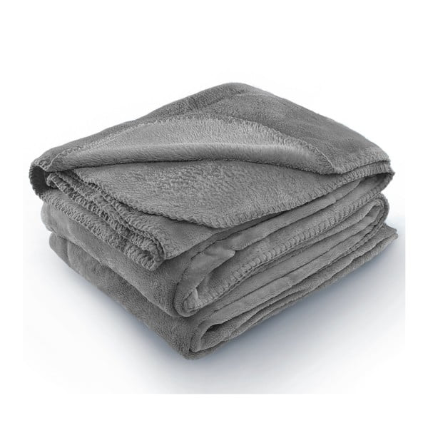 Sivá deka z mikrovlákna AmeliaHome Tyler, 170 × 200 cm