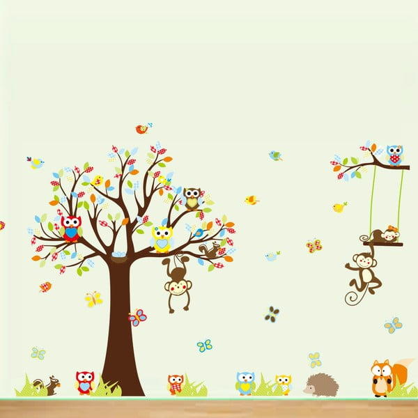 Sada samolepiek Ambiance Cute Monkeys Playing On Trees