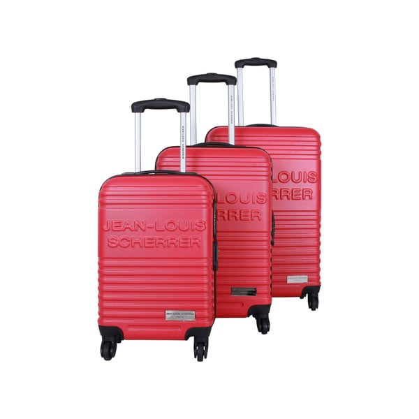 Sada 3 kufrov Jean Louis Scherrer Trolley Red
