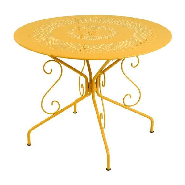 Žltý kovový stôl Fermob Montmartre, Ø96cm