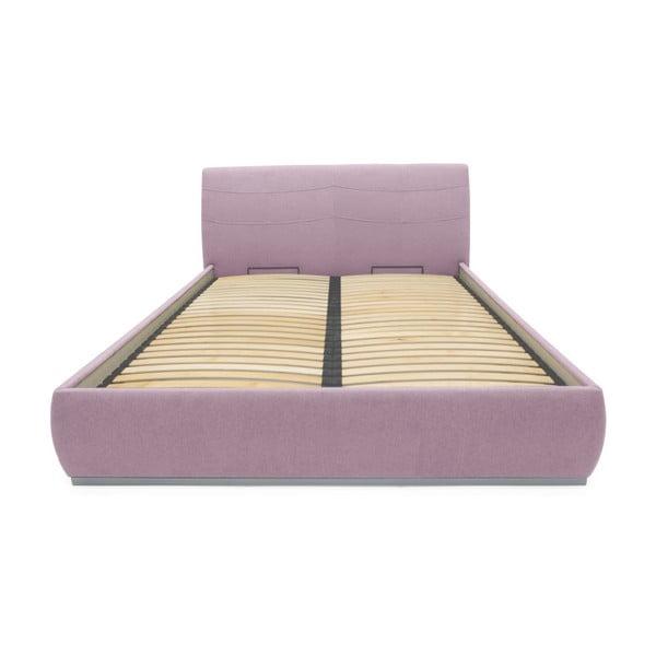 Svetloružová dvojlôžková posteľ Mazzini Beds Luna, 140×200cm