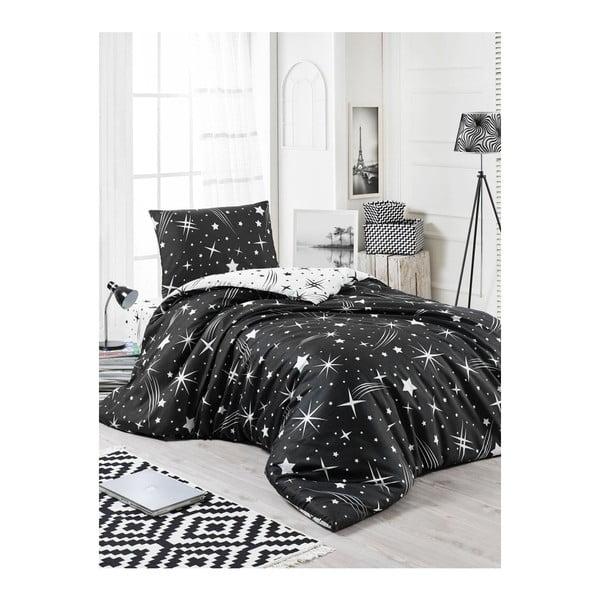 Čierne obliečky s plachtou na jednolôžko Starry Night, 160 × 220 cm