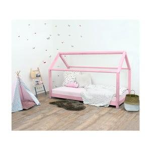 Ružová detská posteľ zo smrekového dreva Benlemi Tery, 80×190 cm