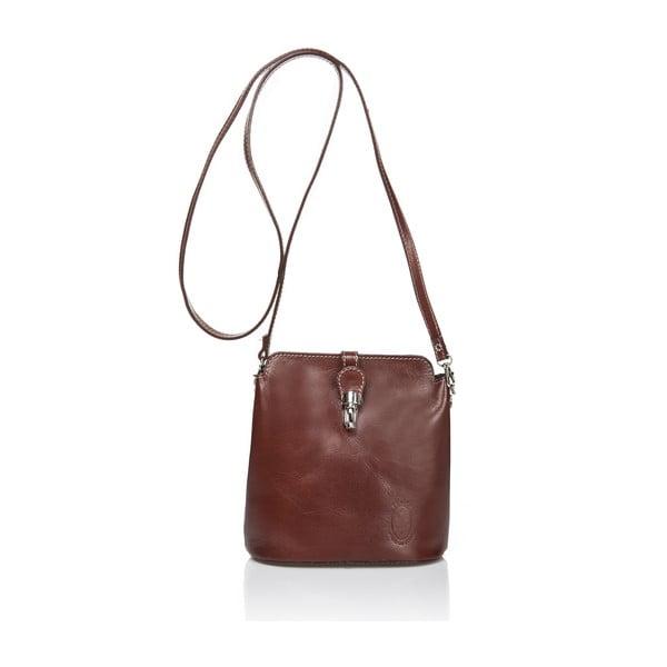 Hnedá kožená kabelka Massimo Castelli Silverio